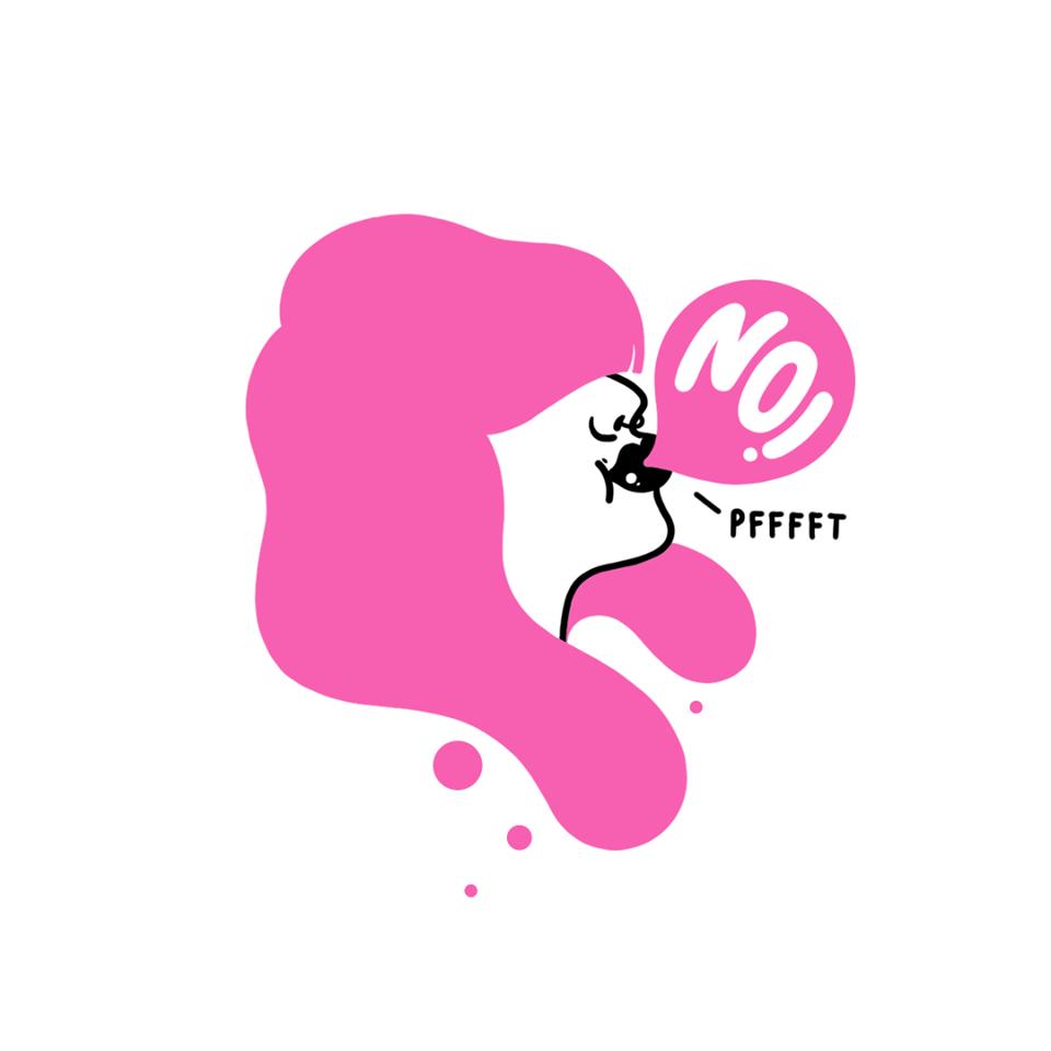 Illustration eines Frauenkopfs. Sie hat pinke Haare und macht eine Kaugummiblase in der No steht.
