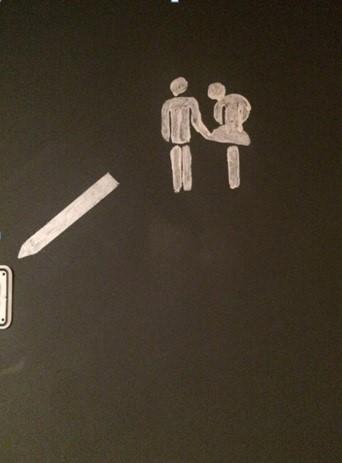 Kein Bock auf sexuelle Belästigung: Auf dem Bild ist ein männlich gelesenes Strichmännchen zu sehen, dass den Rock des weiblich gelesenes Strichmännchens anhebt. Dieses Piktogramm hängt an der Toilettentür der AnderBar.
