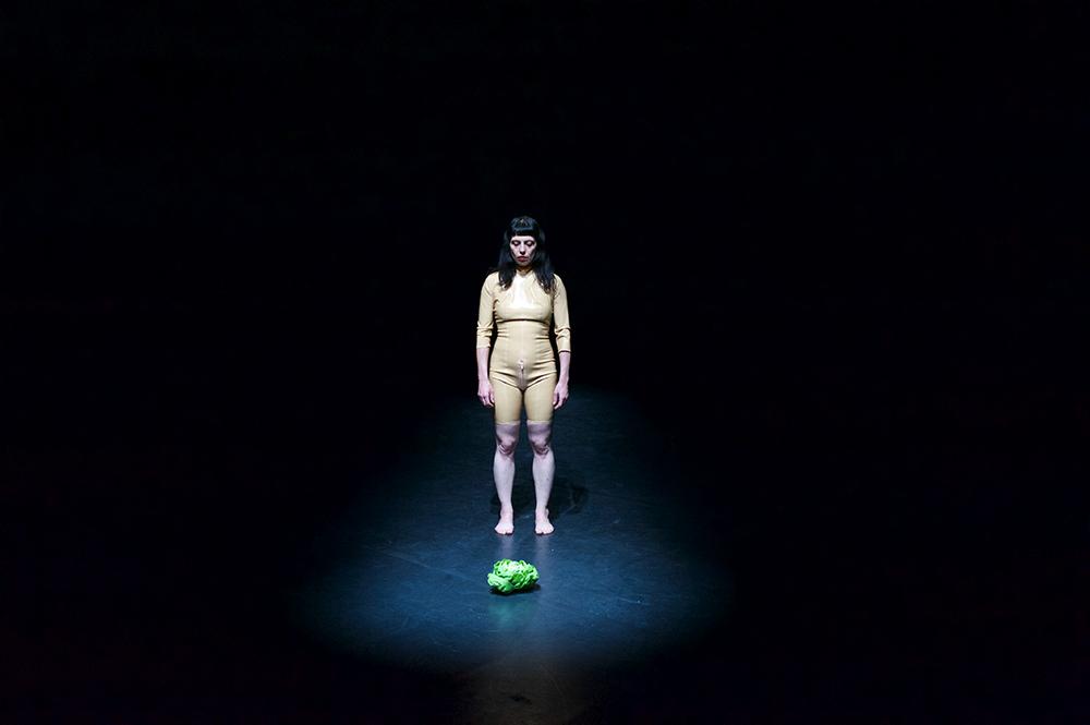 Anna Natt steht auf einer komplett dunklen Bühne, nur ein einzelner Spott ist auf sie und auf den Salatkopf gerichtet, der vor ihr liegt. Sie trägt einen führe ihre weiße Haut passenden hautfarbenen Anzug. Ihre langen dunklen Haare trägt sie offen über die Schulter. Ihre Augen sind geschlossen.