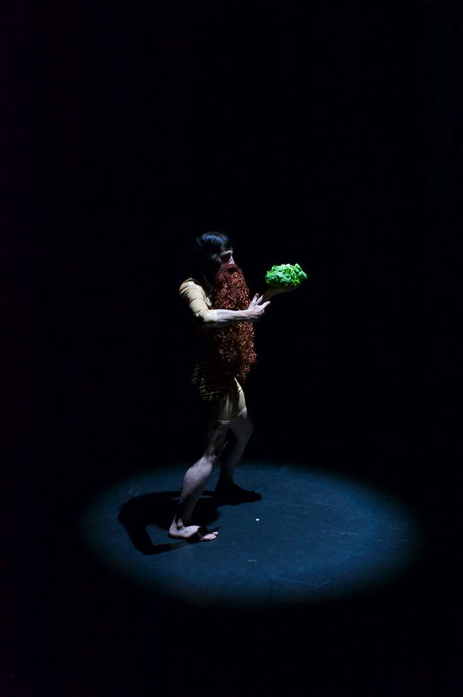 Anna Natt steht immer noch auf einer komplett dunklen Bühne. Wieder ist ein einzelner Spott auf sie gerichtet. Sie hält etwas braunes vor ihren Oberkörper und ihr Gesicht. Es sieht aus wie eine Decke. Den Salatkopf hält sie nun in ihrer rechten Hand und schaut ihn an.