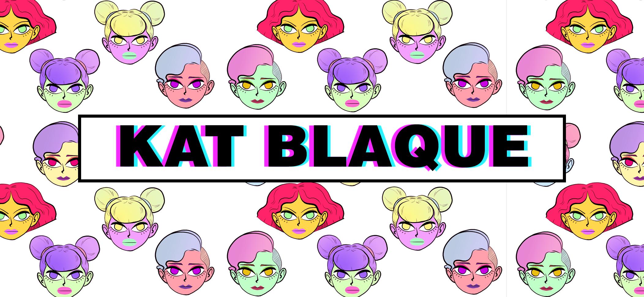 Logo von Kate Blaque in schwarz-lila in einem Kasten. Drumherum bunte Frauenköpfe
