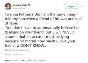 Lena Dunham, Kritik, Vergewaltiger in Schutz, Twitter